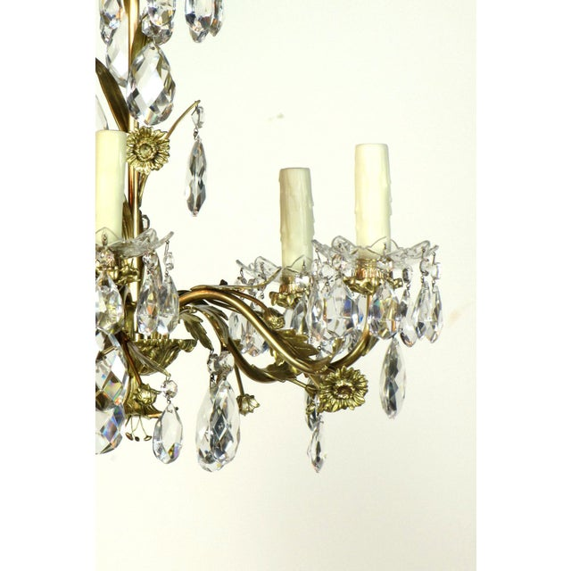 Swedish Brass and Crystal Chandelier - Image 3 of 4