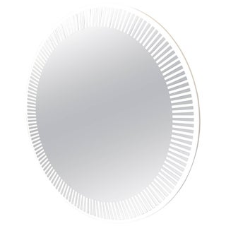 Contemporary Italian Organic Modern Round Lit Mirror With White Sunburst Decor For Sale