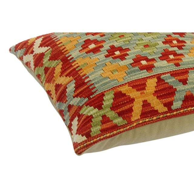 "Asian Chase Red/Gray Hand-Woven Kilim Throw Pillow(18""x18"") For Sale - Image 3 of 6"