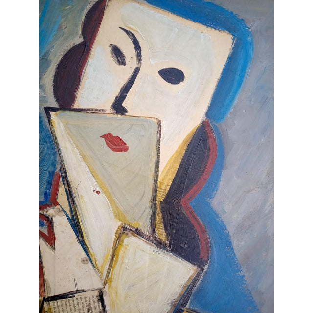 Mid 20th Century Portrait of Cubist Style Abstract Female Mixed-Media Collage, Framed For Sale - Image 4 of 11
