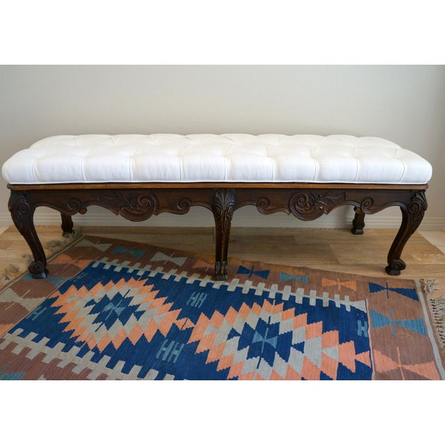 Vintage Carved Wood Button Tufted Bench - Image 3 of 7