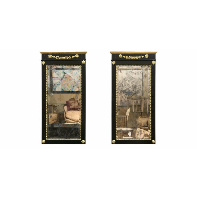 A Pair of Antique Ebony & Giltwood Mirrors - Image 2 of 7