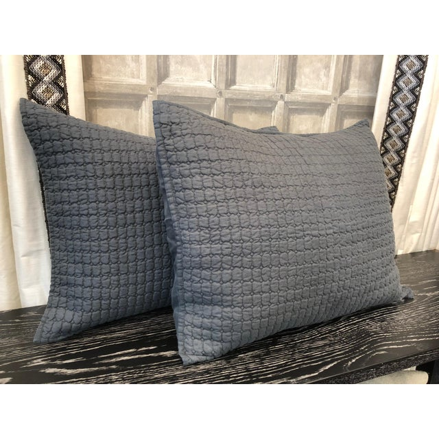 Contemporary Catalina Steel Blue Standard Shams - A Pair For Sale - Image 3 of 8