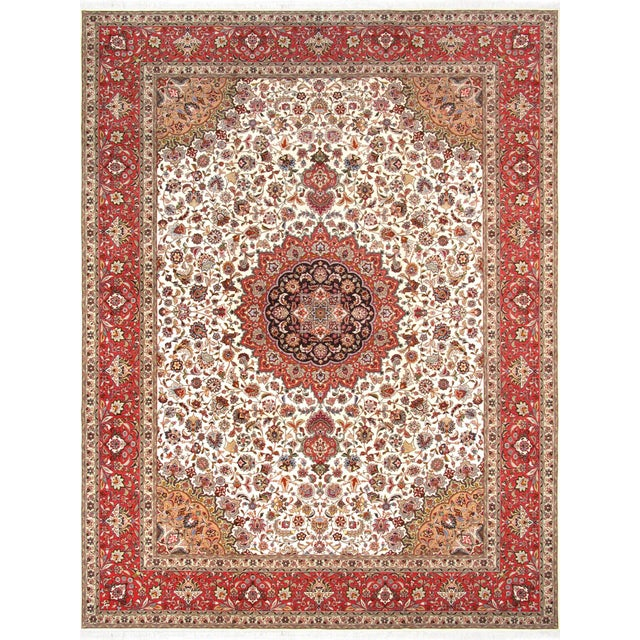 "Pasargad Persian Tabriz Silk & Wool Rug - 9'11"" X 13' 0"" For Sale"