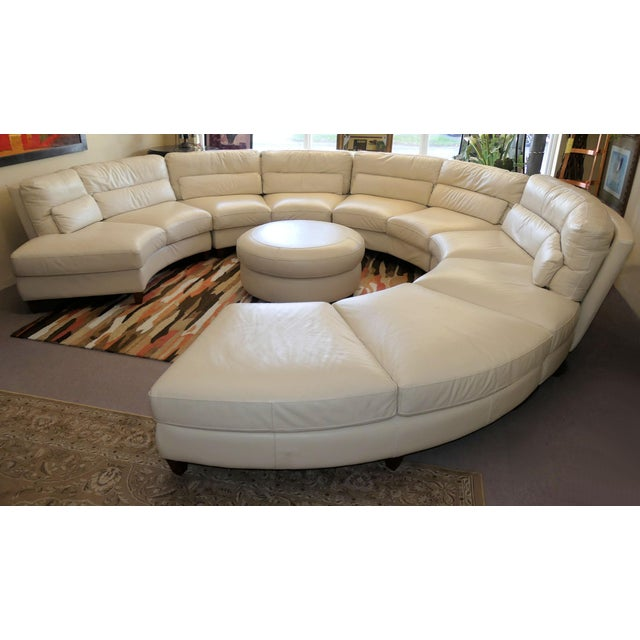 Bloomingdale's Chateau d'Ax Italian Leather Sectional Sofa With Ottoman For Sale - Image 12 of 12