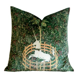 Unicorn in Captivity Velvet Pillow Cover For Sale