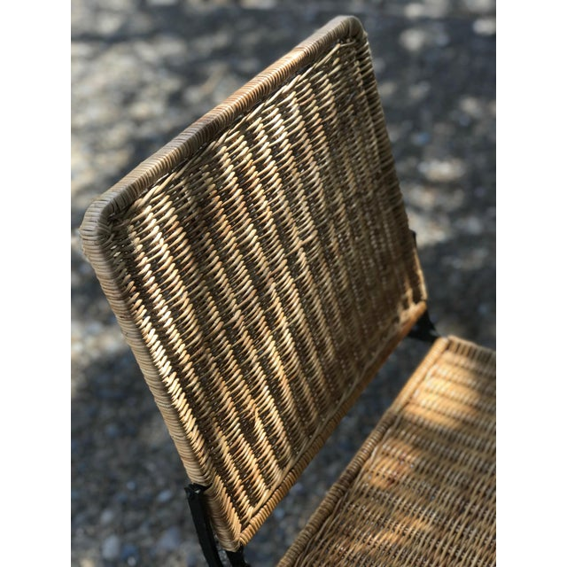 1960s 1960s Boho Chic Rattan & Wrought Iron Folding Chair For Sale - Image 5 of 9