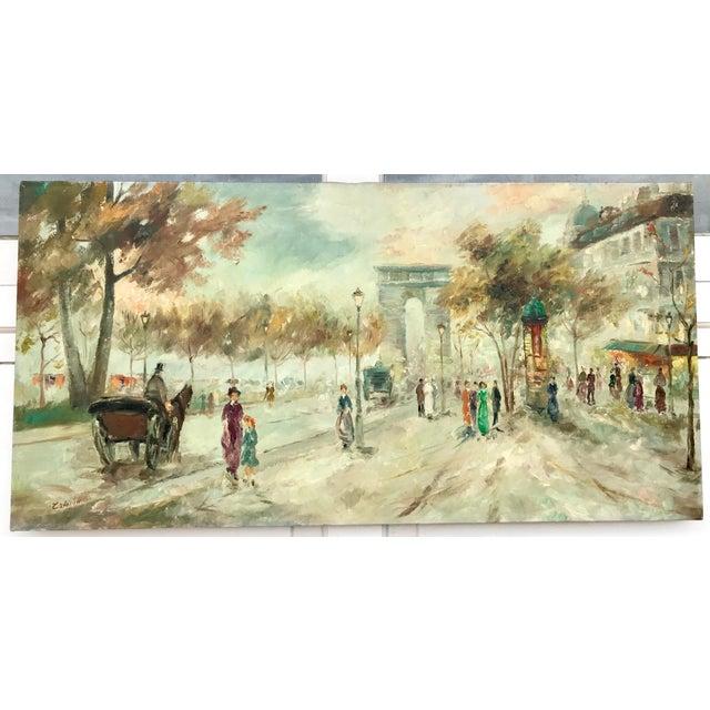 Green 1950s Vintage Pastel Paris City Scene Painting For Sale - Image 8 of 8