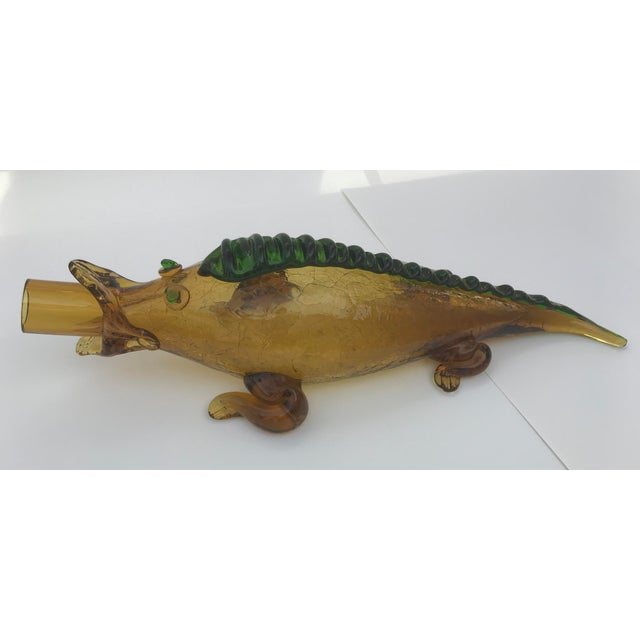 Italian Mid Century Blown Glass Alligator Wine Bottle For Sale - Image 13 of 13