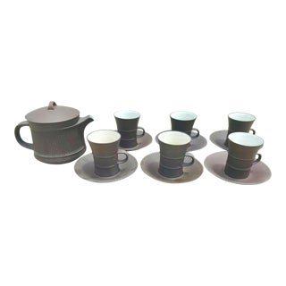 Mid-Century Modern Dansk Quistgaard Brown Flamestone Tea Set - 13 Pieces For Sale