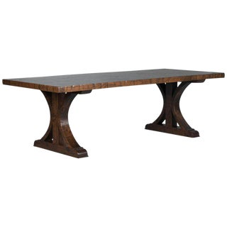 Industrial Maple Dining Table Made From Reclaimed Box Car Flooring For Sale