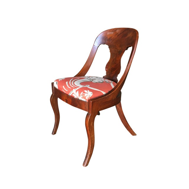 Set of two Streamline Art Deco Mahogany Side Chairs featuring unique flowing back.