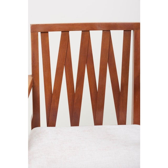 Newly Restored Set of 8 Lattice Back Dining Chairs Attributed to Paul T. Frankl For Sale - Image 12 of 13