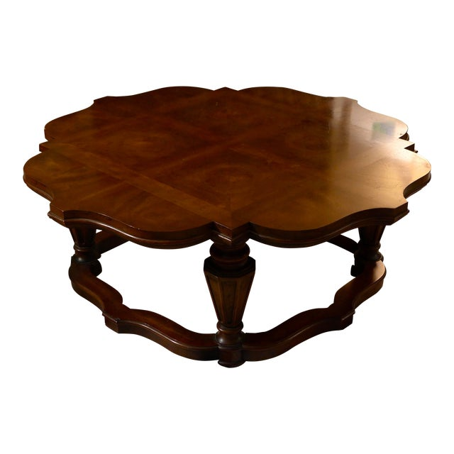 1970s Traditional Heritage Mahogany Round Parquet Coffee Table