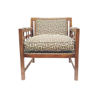 1960s Vintage Greek Key Club Chair For Sale