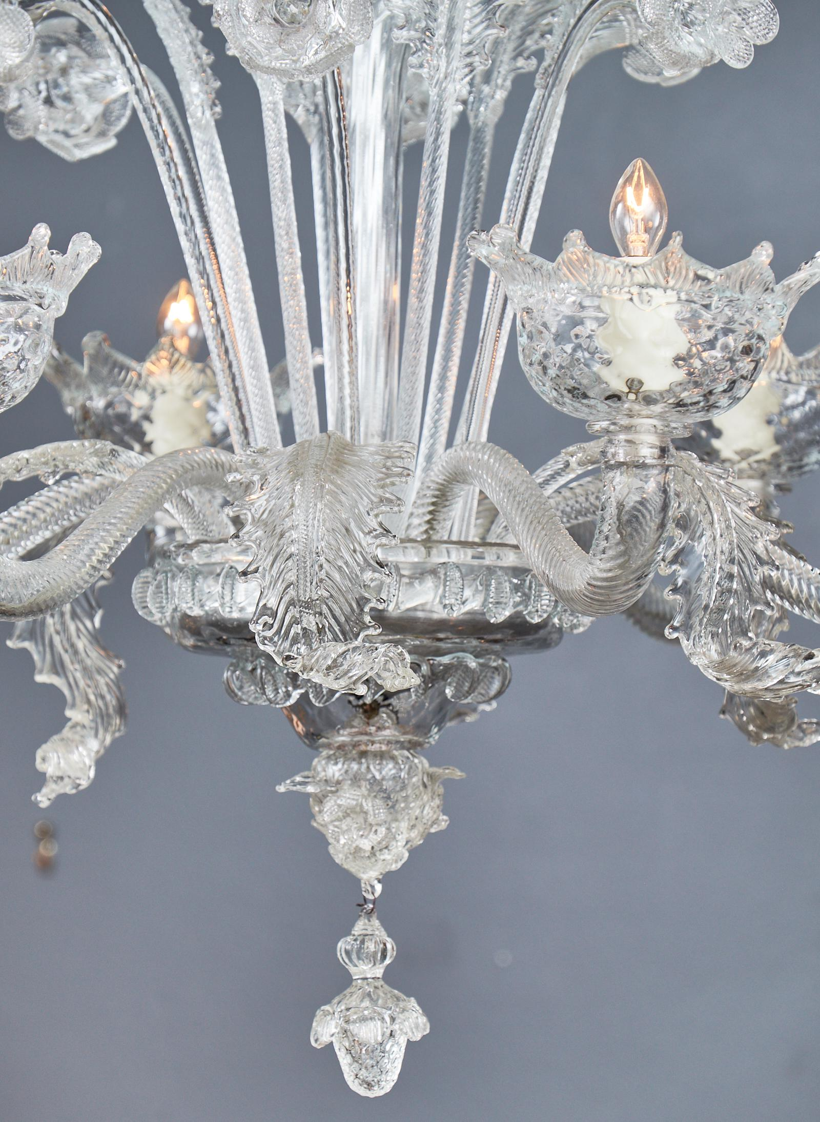 Superb Italian Vintage Murano Glass Chandelier Decaso