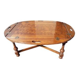 1980s Ethan Allen Royal Charter Oak Oval Parquet Top Butler's Coffee Table For Sale