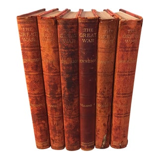"Antique Red Leather ""The Great War"" Books - Set of 6"