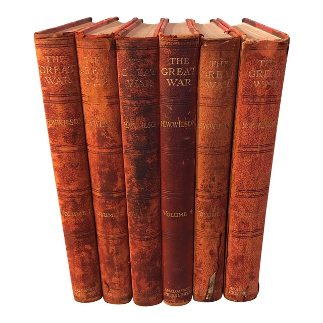 """Antique Red Leather """"The Great War"""" Books - Set of 6 For Sale"""
