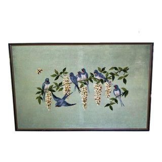 Large Blue Swallow and Wisteria Framed Needlepoint