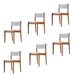 Danish Modern Teak Dining Chairs in White Gray and Pink Fabric For Sale
