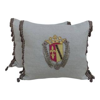 Family Crest Appliquéd Linen Pillows - A Pair For Sale