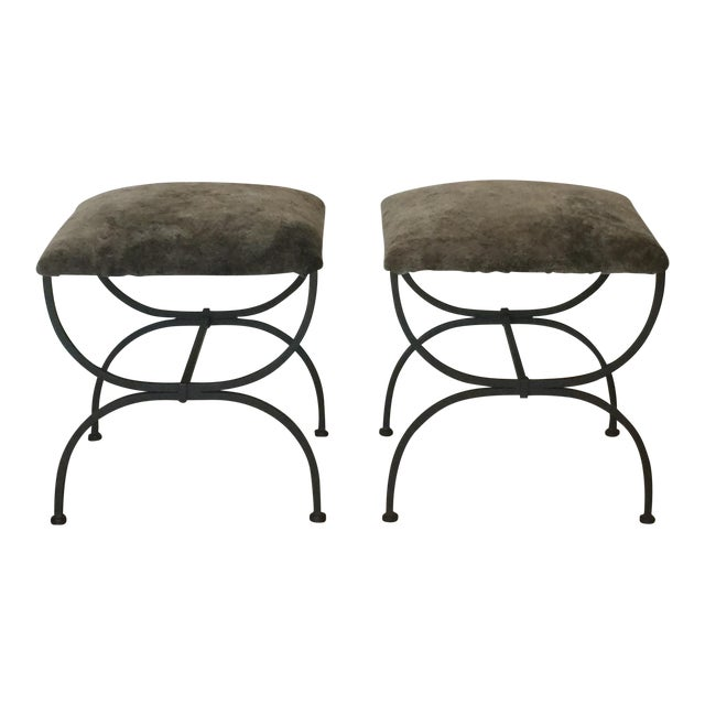 Contemporary Design Frères Gray Shearling 'Strapontin' Stools - a Pair For Sale