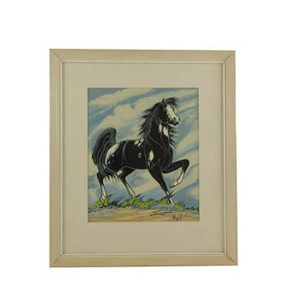 1950s Vintage Frank Vigil Black Horse Framed Silk Screen Print For Sale
