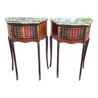 Louis XIV Marble Top Book-Front Serpentine Tables - a Pair For Sale