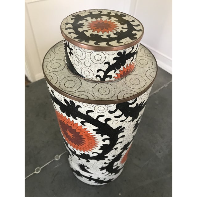 "Fabienne Jouvin Paris enameled copper Cloisonne canister with lid from the designer's ""Ouzbek"" series (2005). Excellent..."