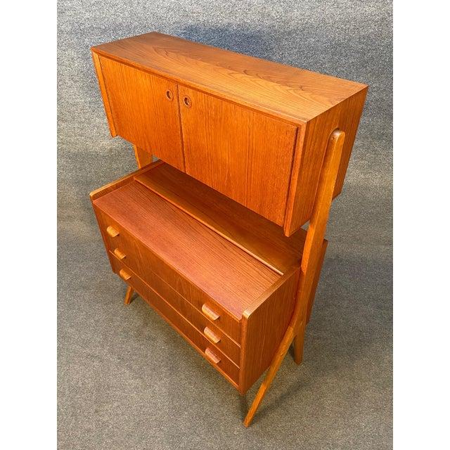 Vintage Danish Mid Century Modern Teak and Oak Secretary Desk Vanity For Sale - Image 9 of 11