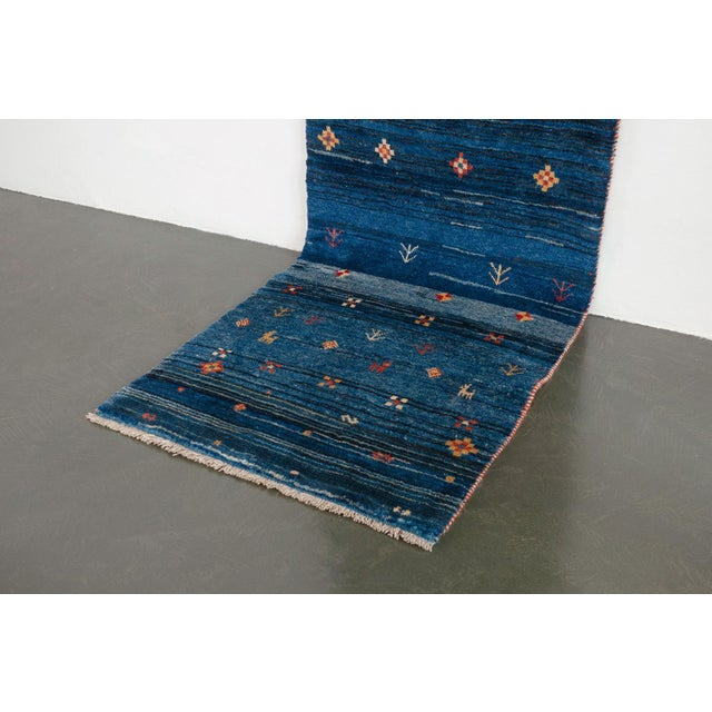 Blue Persian Gabbeh Rug - 2′11″ × 9′7″ For Sale In Seattle - Image 6 of 8