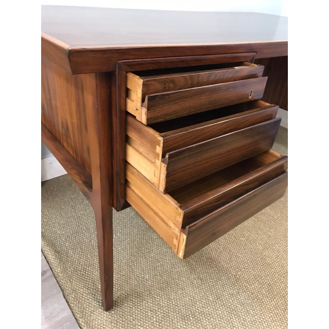 Brown Mid-Century Modern Danish Rosewood Desk Writing Table For Sale - Image 8 of 10