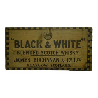 "Vintage ""Black & White Blended Scotch Whiskey"" Crate End For Sale"