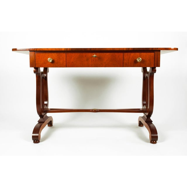Traditional Mahogany Burl Wood Writing Desk For Sale - Image 3 of 9