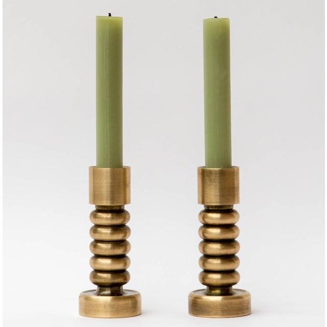 Danish Modern Brass Danish Modern Candlesticks, a Pair For Sale - Image 3 of 7