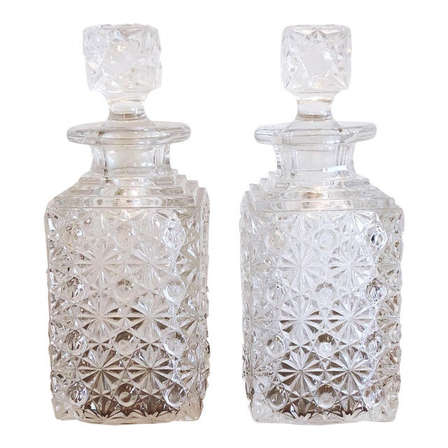 Glass Decanters, Set of 2 For Sale