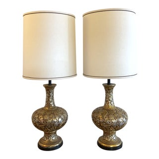 Gold Ceramic Rococo Style Table Lamps by Fortune Lamp Co. - a Pair For Sale