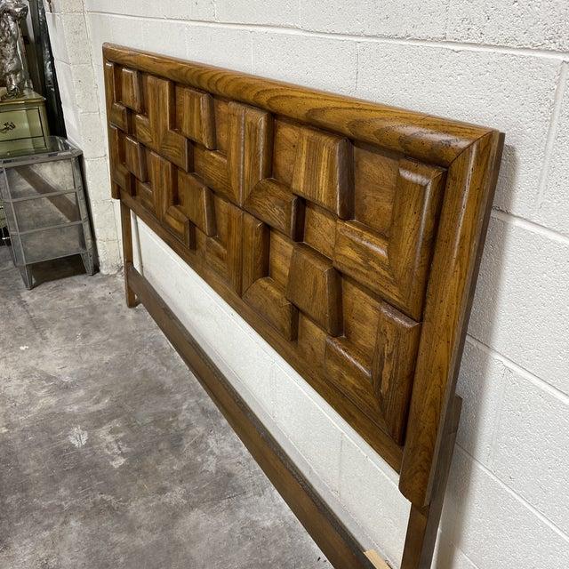 Great mid century headboard in a brutalist style raised geometric patterns. Head board only. No rails. Someone reinforced...