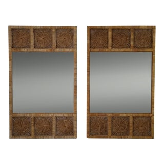 Vintage Tropical Palm Beach Style Boho Rattan Wall Mirror . For Sale