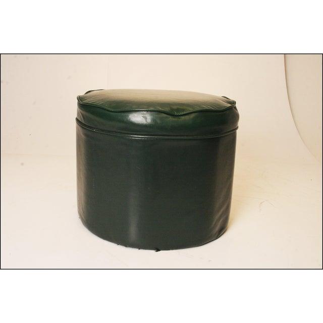 Mid Century Modern Dark Green Vinyl Ottoman - Image 7 of 11