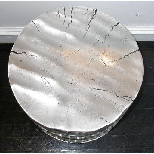 Contemporary Cast Aluminum Stool or End Table For Sale - Image 3 of 6