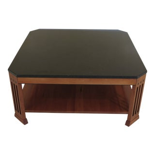 Arts and Crafts Stickley Cherry Granite Top Coffee Table For Sale