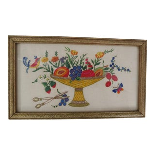 Vintage Embroidered Bird on Fruit Basket, Original Frame For Sale