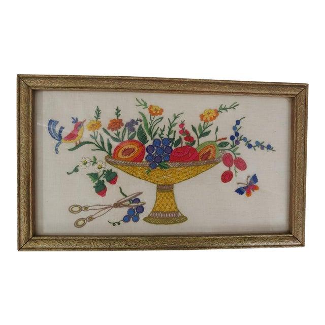 Vintage Embroidered Bird on Fruit Basket, Original Frame For Sale