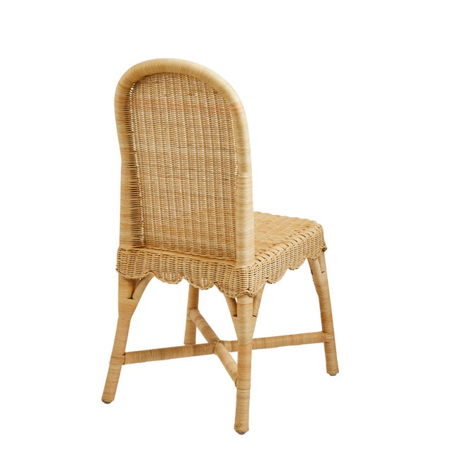 Amanda Lindroth Linton Scalloped Rattan Side Chairs, Set of 2 For Sale - Image 4 of 12