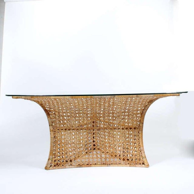 1970s Danny Ho Fong Cane Triangular Shaped Dining Table For Sale - Image 5 of 10