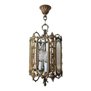 Large 19th Century Regency Style Bronze and Cut-Glass Lantern For Sale