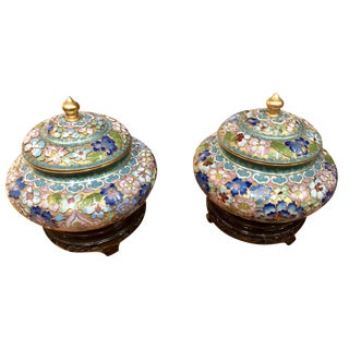 Chinoiserie Cloisonne Urns on Wood Bases - a Pair For Sale