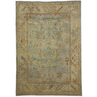 Modern Turkish Oushak Rug with Transitional Style in Coastal Colors